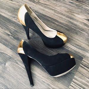 [JUSTFAB] Katura Black and Gold Heels
